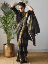 Black floral Ajrakh modal silk saree draping poses at home