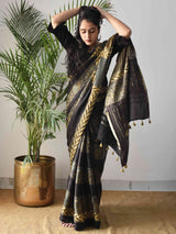 Black floral Ajrakh modal silk saree draping