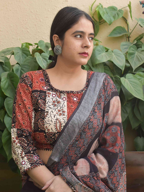 Black White Maroon Patchwork Ajrakh handblock printed Kutch mirror work blouse