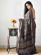Buy Black Ajrakh handloom eri ahimsa silk saree