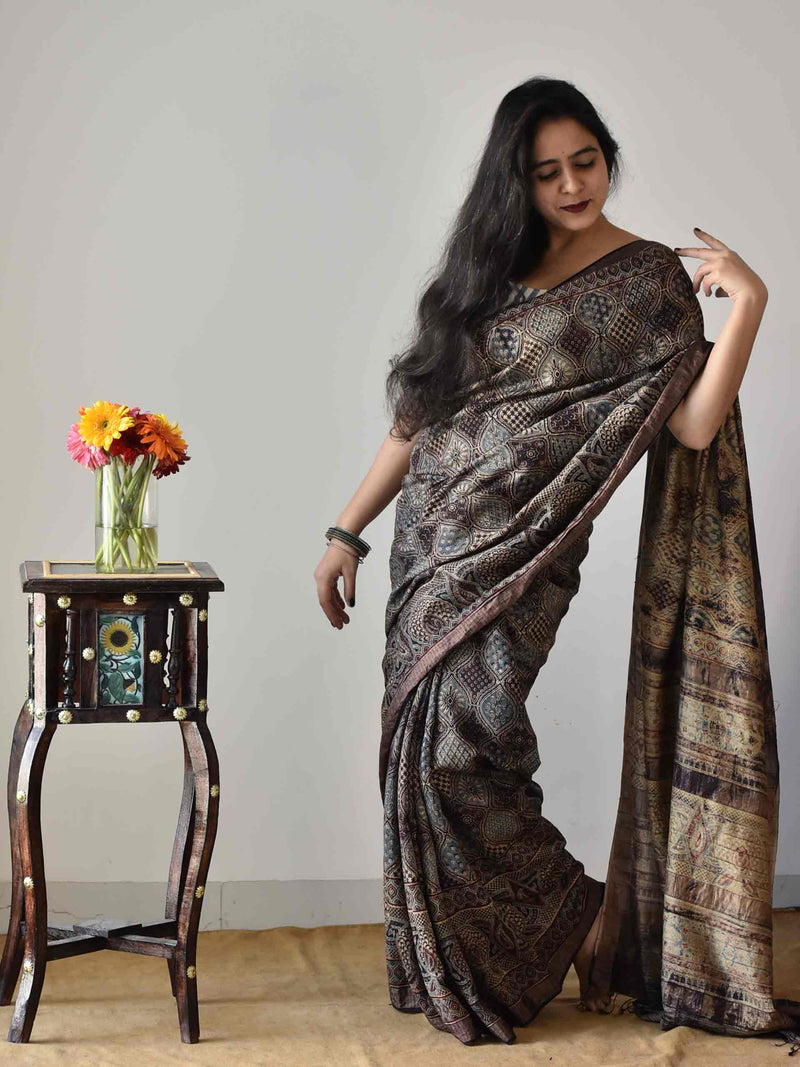 Black Ajrakh handloom eri silk saree