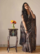 Buy Black Ajrakh handloom eri silk saree online