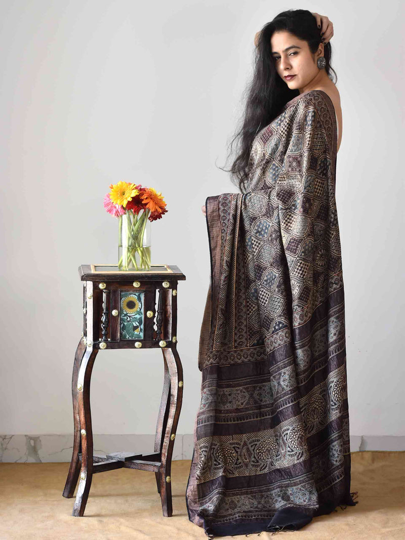 Buy Black Ajrakh handloom eri silk saree