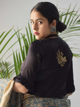 Black Mashru Silk Designer Blouse Embroidery