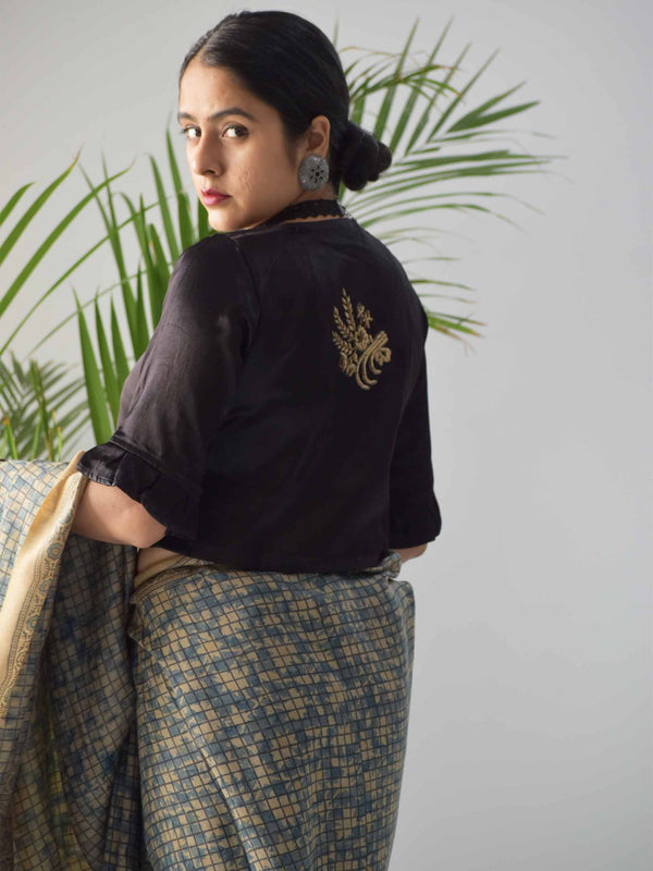 Black Mashru Silk Designer Blouse