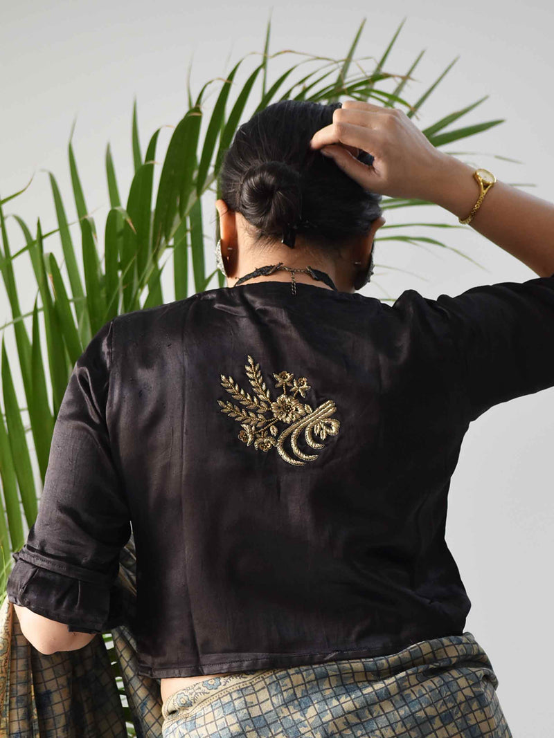 Black Mashru Silk Designer Blouse Pose