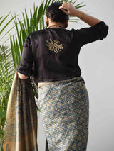 Black Mashru Silk Designer Blouse poses at home