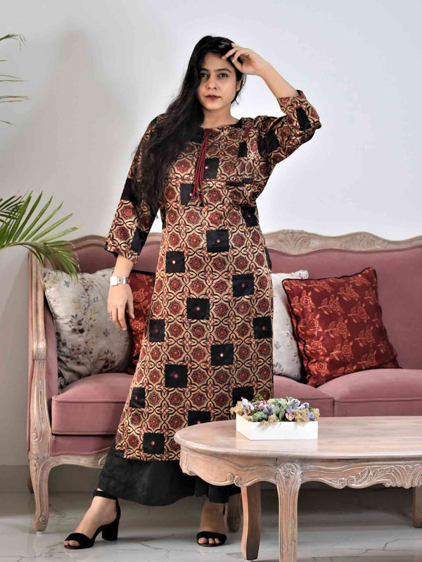 Black Ajrakh Mashru Silk Dress