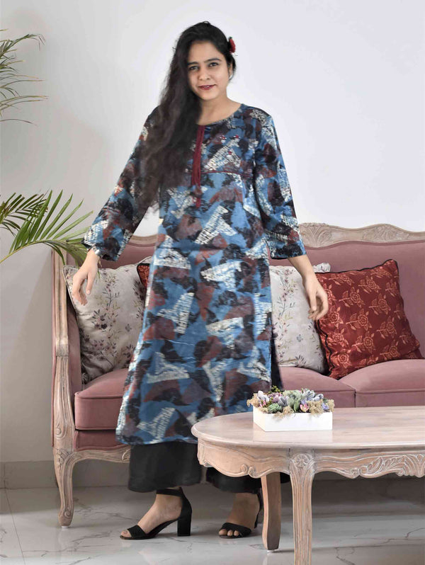 Blue Abstract Ajrakh Mashru Silk Kurti