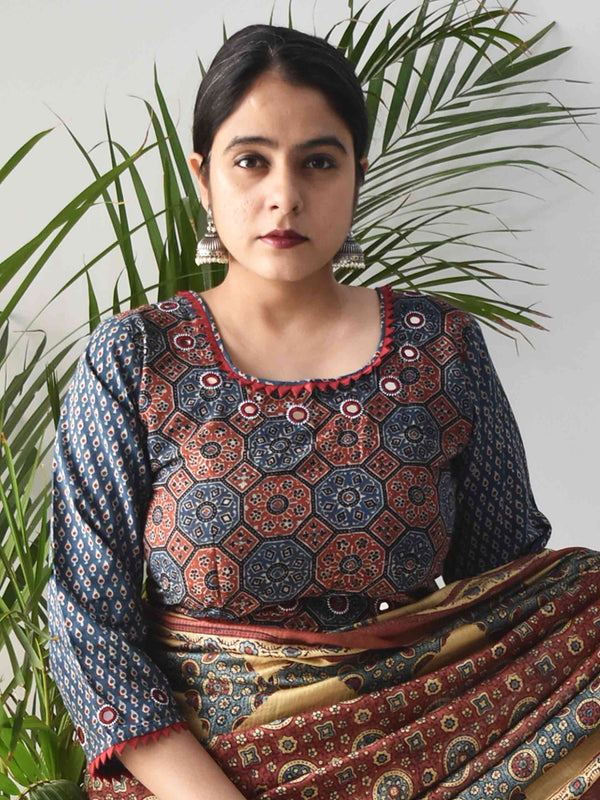 Blue Ajrakh hand block printed Kutch mirror work blouse