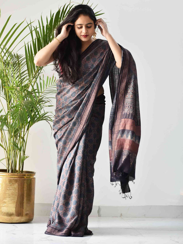 Blue Ajrakh handwoven tussar silk saree pose
