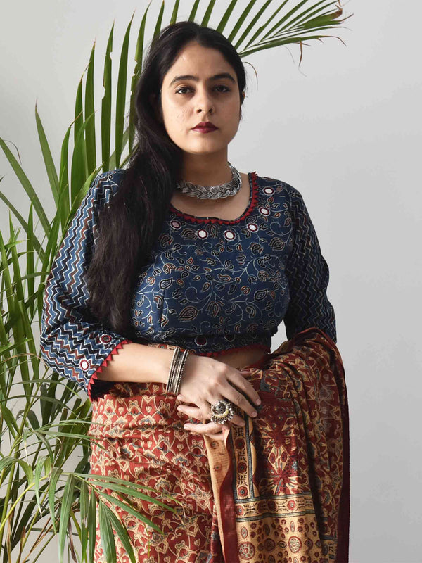 Blue Floral Ajrakh hand block printed Kutch mirror work blouse