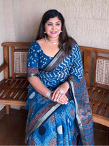 blue ajrakh linen saree