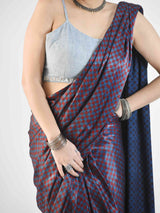 Ajrakh mashru silk saree with designer blouse