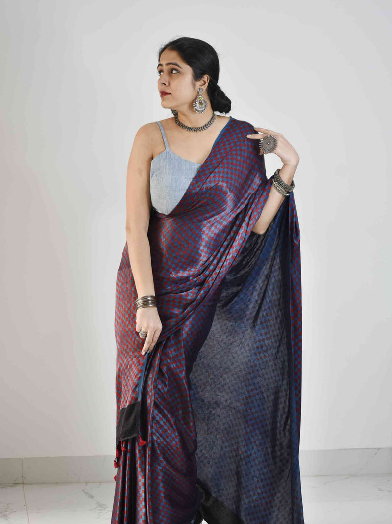 Ajrakh mashru silk saree draping
