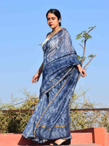 Bluebells Shibori Chanderi Silk Saree draping photo