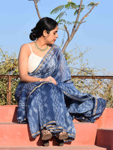 Bluebells Shibori Chanderi Silk Saree sitting pose