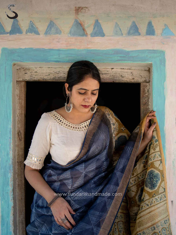 White Desert Organic Kala Cotton Kutch mirror work blouse
