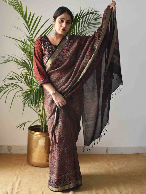 Brown Ajrakh Handblock Printed Linen Saree draping style