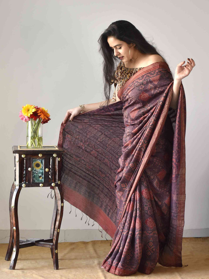 Brown Maroon Ajrakh handloom Eri Ahimsa silk saree