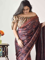 Buy Brown Maroon Ajrakh handloom Eri Ahimsa silk saree online