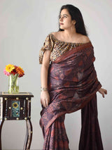 Buy Brown Maroon Ajrakh handloom Eri silk saree online
