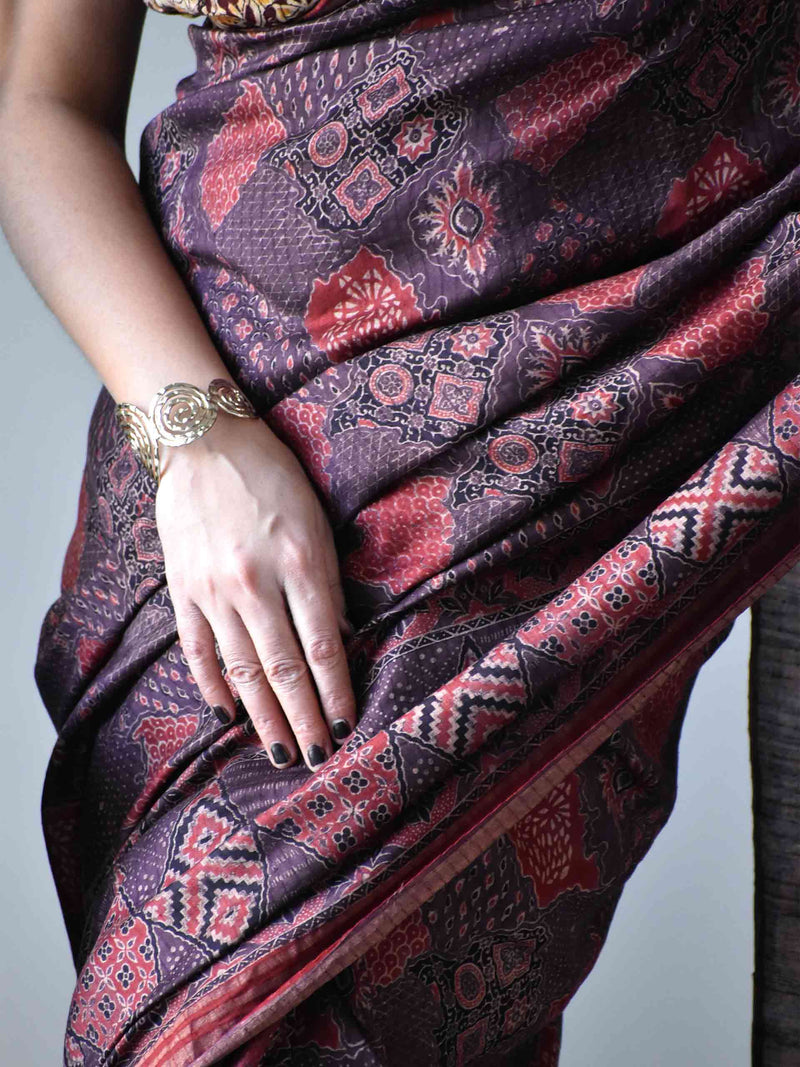Brown Maroon Ajrakh handloom Eri silk saree