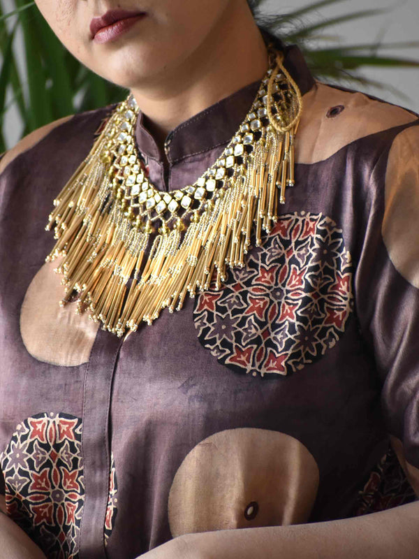 Brown Ajrakh Mashru Silk Belt Blouse