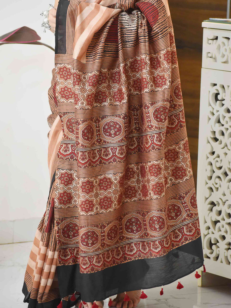 Chand Suraj Ajrakh hand block printed Chanderi silk saree