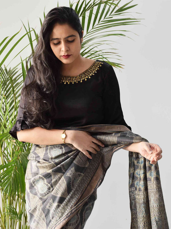 Charcoal black Ajrakh hand block printed handwoven tussar silk saree