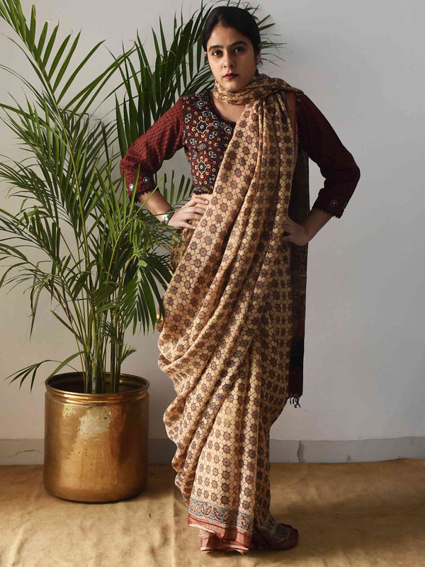 Cream Ajrakh Handblock Printed Linen Saree draping photo