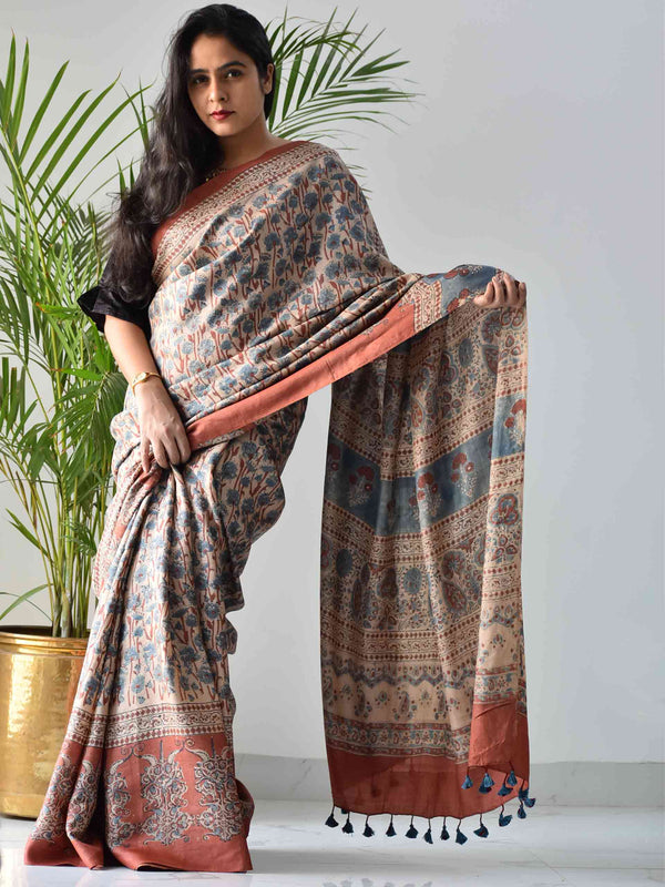 Cream Ajrakh handwoven tussar silk saree draping front photo