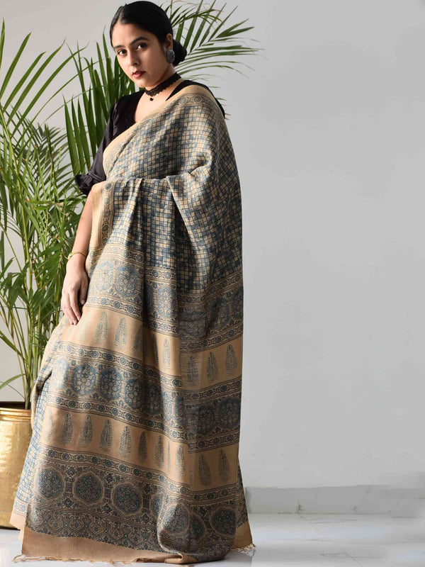 Cream Blue Ajrakh handwoven tussar silk saree draping front