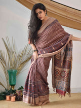 Cream Red Ajrakh handloom Eri silk saree
