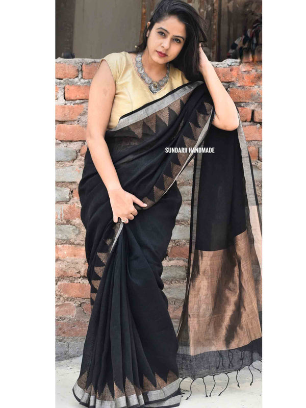 Black Linen handwoven saree with temple border