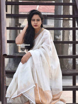 White Linen handwoven saree with temple border