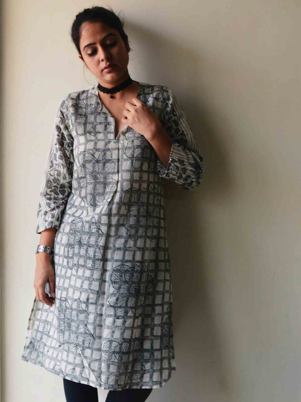 Black Hand block printed handwoven cotton kurti