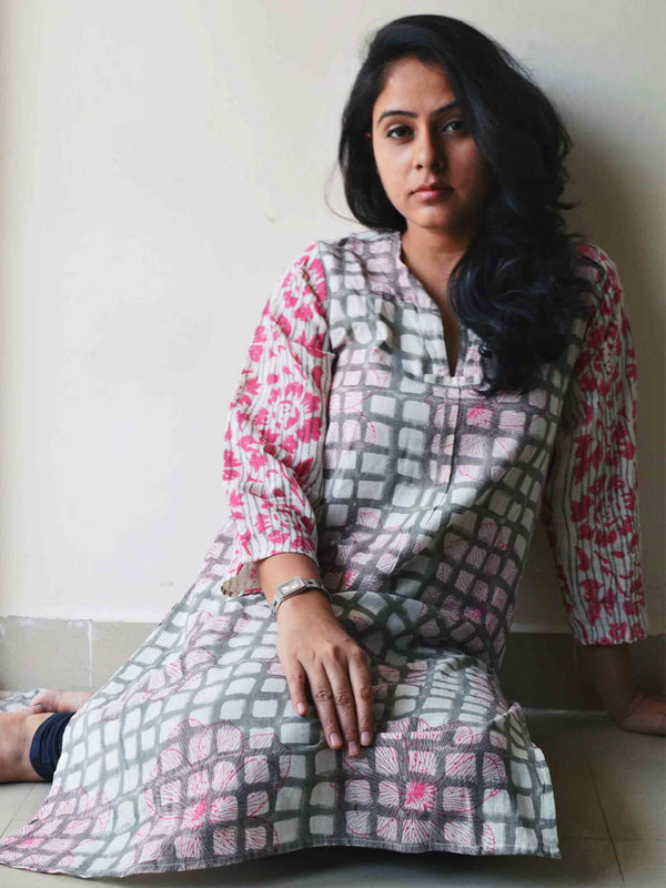 Hand block printed handwoven cotton kurti