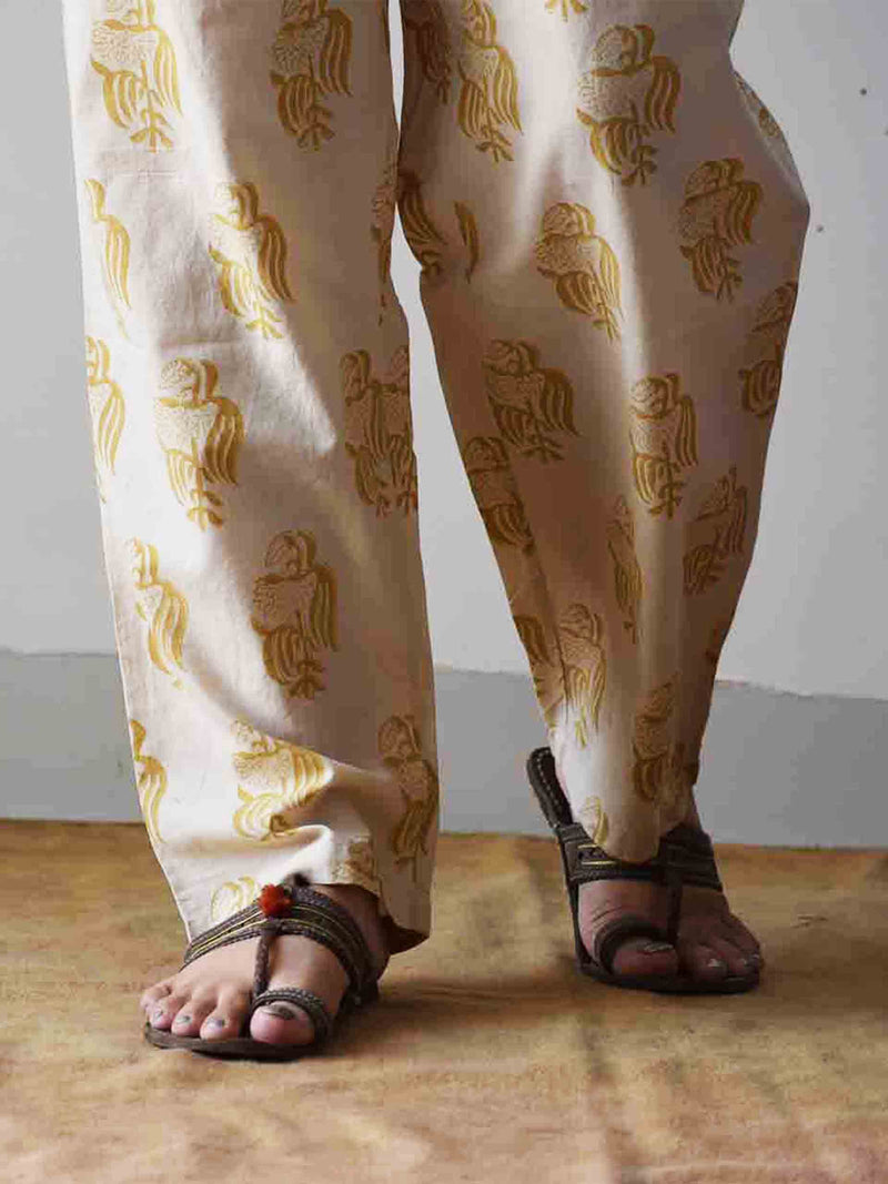 Beige and Yellow Dabu hand block printed Palazzo Cotton Pants
