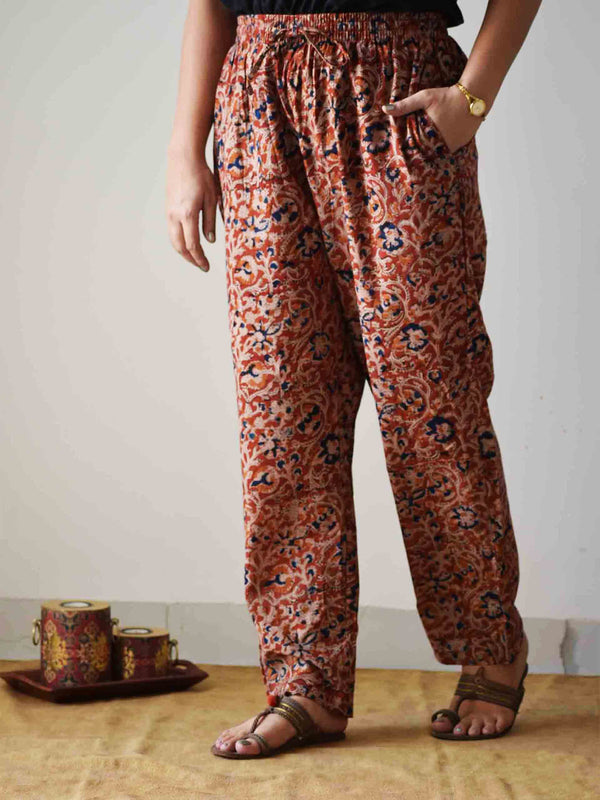 Orange Kalamkari hand block printed Palazzo Cotton Pants