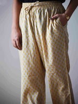 Beige and Yellow Floral Dabu hand block printed Palazzo Cotton Pants