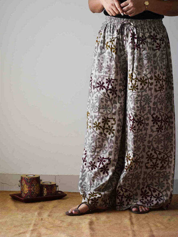 Grey Dabu hand block printed Palazzo Cotton Pants