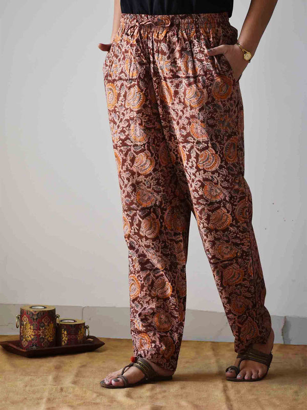 Brown Kalamkari hand block printed Palazzo Cotton Pants