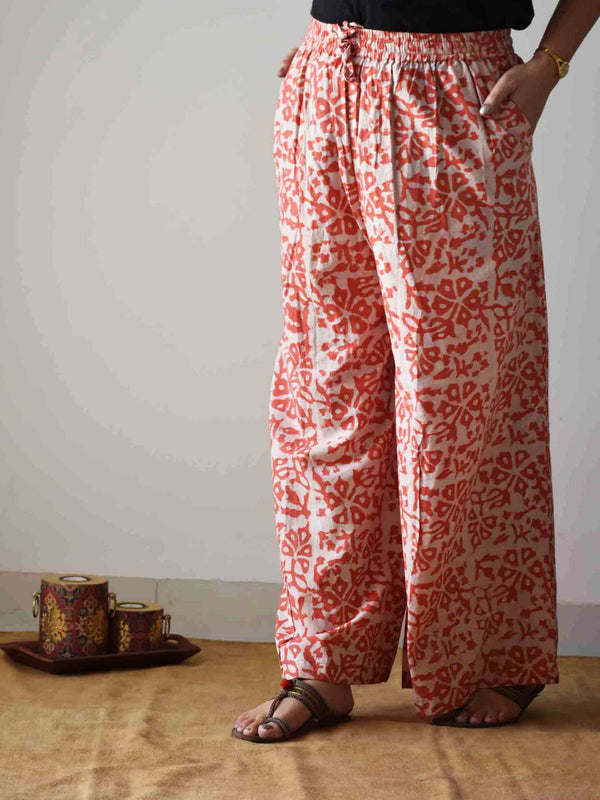 Orange Dabu hand block printed Palazzo Cotton Pants