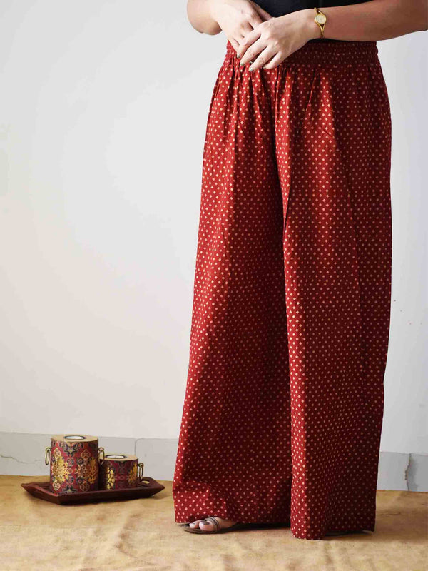 Maroon Ajrakh hand block printed flared Palazzo Cotton Pants