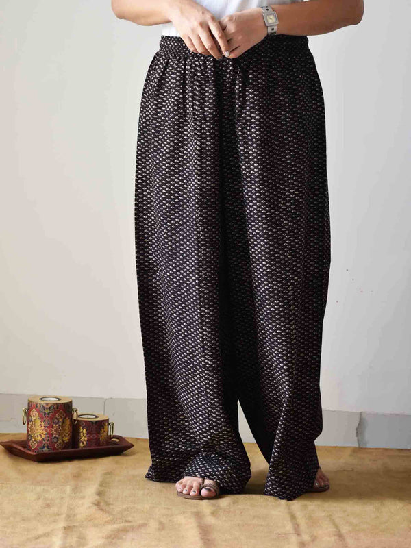 Black Ajrakh hand block printed flared Palazzo Cotton Pants
