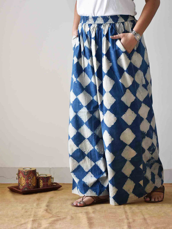 Indigo Geometric Dabu hand block printed Palazzo Cotton Pants