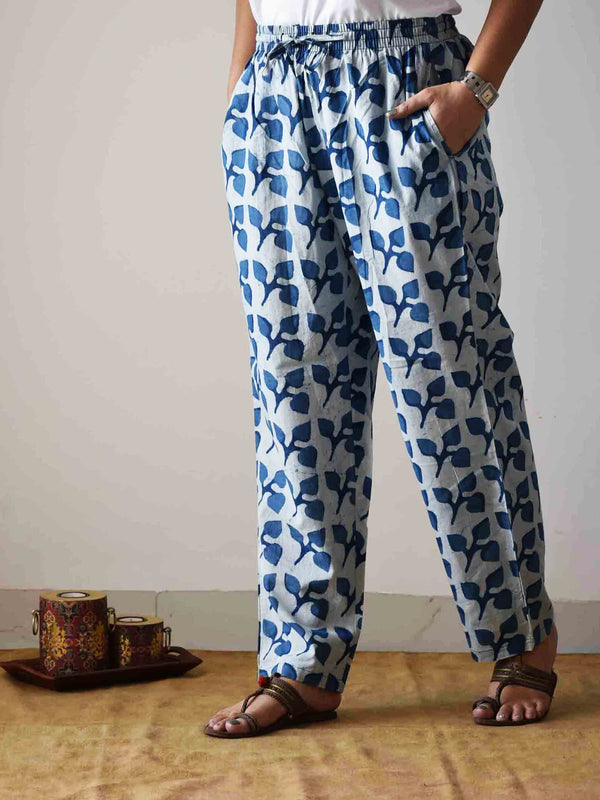 Indigo leaf Dabu hand block printed Palazzo Cotton Pants