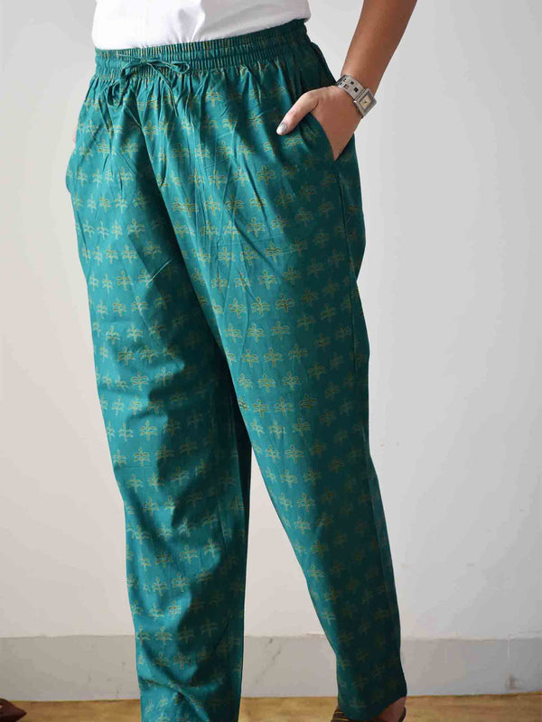 Teal Green Dabu hand block printed Palazzo Cotton Pants