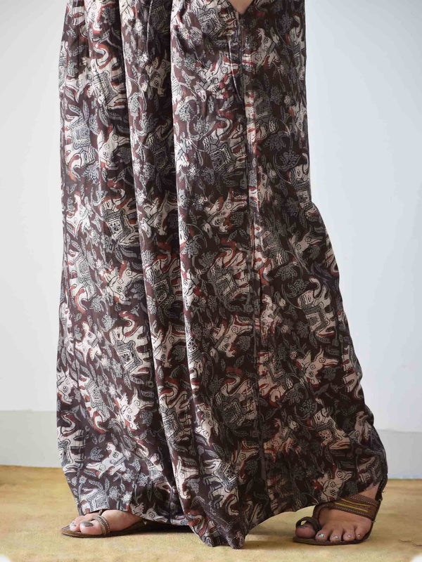 Brown and Grey Dabu hand block printed Palazzo Cotton Pants
